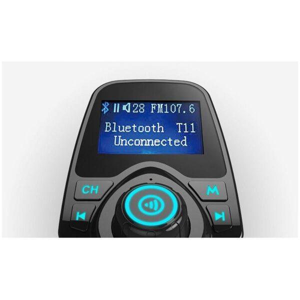 22109 - Автомобильный Bluetooth трансмиттер (FM-передатчик) + USB зарядное T11: 2 USB-порта, поддержка Micro SD-карты 32 Гб, ЖК-экран