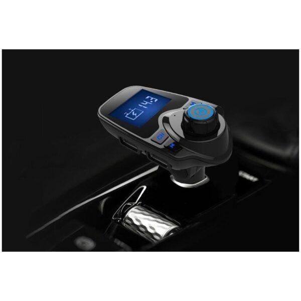 22110 - Автомобильный Bluetooth трансмиттер (FM-передатчик) + USB зарядное T11: 2 USB-порта, поддержка Micro SD-карты 32 Гб, ЖК-экран