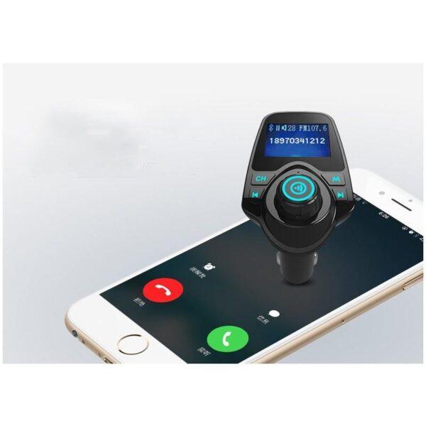 22111 - Автомобильный Bluetooth трансмиттер (FM-передатчик) + USB зарядное T11: 2 USB-порта, поддержка Micro SD-карты 32 Гб, ЖК-экран