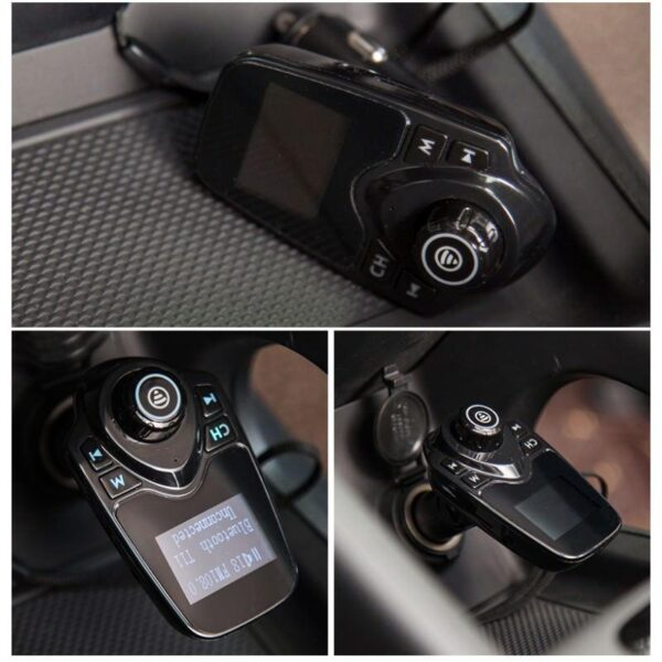 22112 - Автомобильный Bluetooth трансмиттер (FM-передатчик) + USB зарядное T11: 2 USB-порта, поддержка Micro SD-карты 32 Гб, ЖК-экран