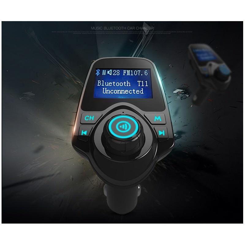 22113 - Автомобильный Bluetooth трансмиттер (FM-передатчик) + USB зарядное T11: 2 USB-порта, поддержка Micro SD-карты 32 Гб, ЖК-экран