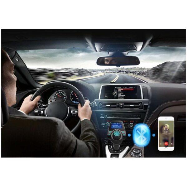 22114 - Автомобильный Bluetooth трансмиттер (FM-передатчик) + USB зарядное T11: 2 USB-порта, поддержка Micro SD-карты 32 Гб, ЖК-экран