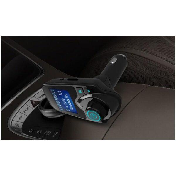 22116 - Автомобильный Bluetooth трансмиттер (FM-передатчик) + USB зарядное T11: 2 USB-порта, поддержка Micro SD-карты 32 Гб, ЖК-экран
