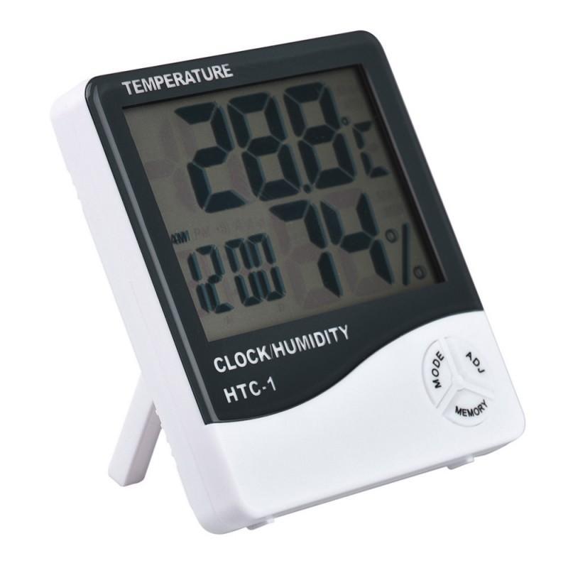 Электронный комнатный термометр-гигрометр HTC-1: температура, влажность, дата, время, будильник 164779