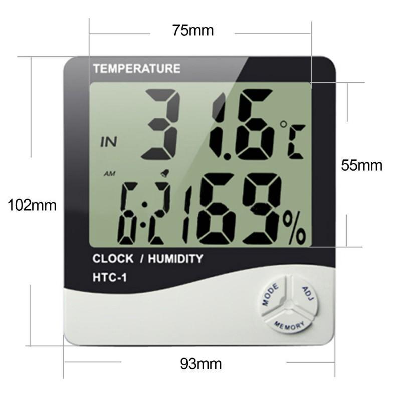 Электронный комнатный термометр-гигрометр HTC-1: температура, влажность, дата, время, будильник 164780