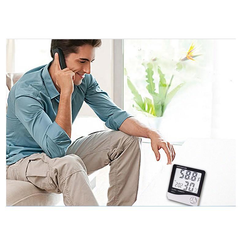 Электронный комнатный термометр-гигрометр HTC-1: температура, влажность, дата, время, будильник 164785