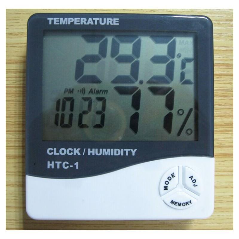 Электронный комнатный термометр-гигрометр HTC-1: температура, влажность, дата, время, будильник 164794