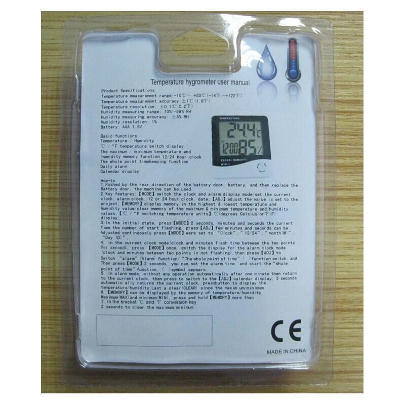 Электронный комнатный термометр-гигрометр HTC-1: температура, влажность, дата, время, будильник 164796