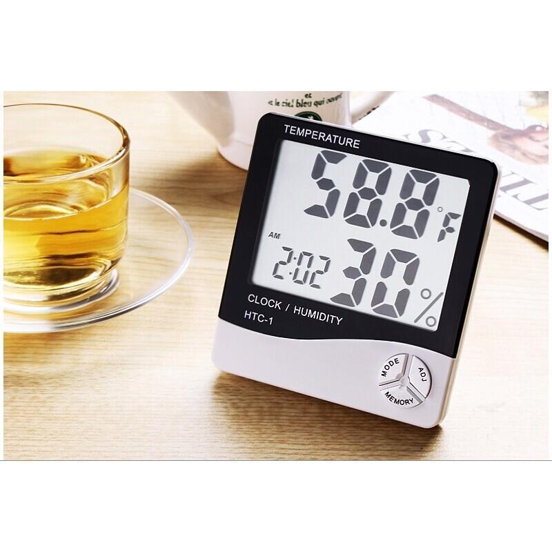 Электронный комнатный термометр-гигрометр HTC-1: температура, влажность, дата, время, будильник