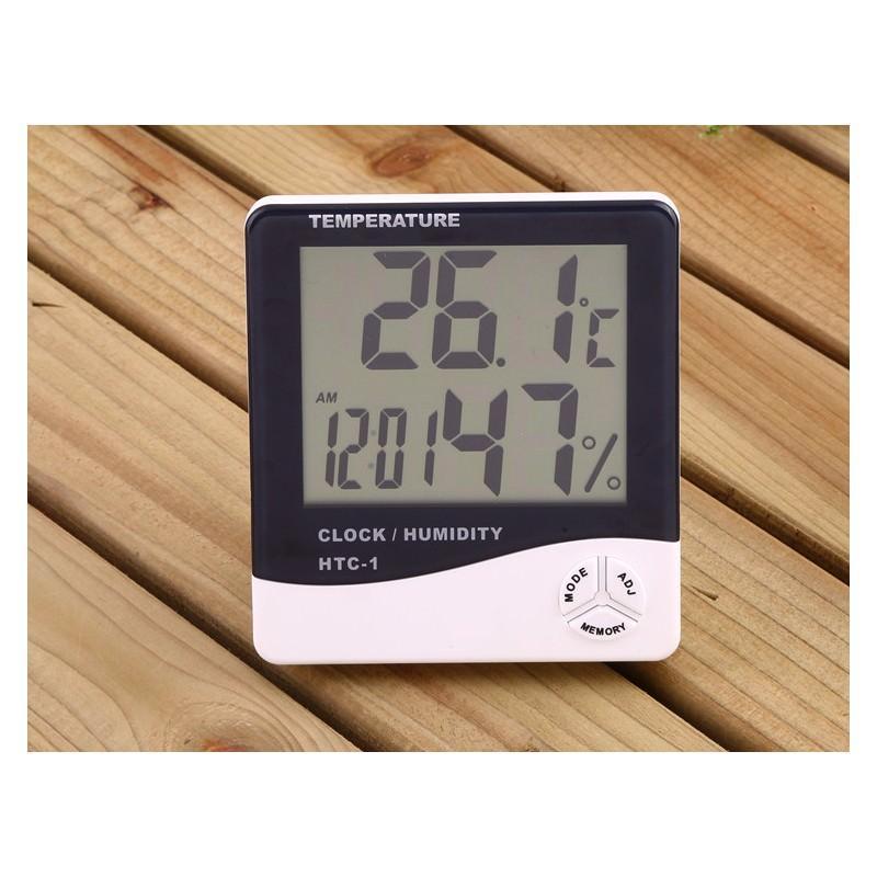Электронный комнатный термометр-гигрометр HTC-1: температура, влажность, дата, время, будильник 164799