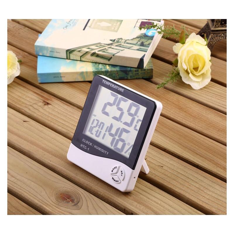 Электронный комнатный термометр-гигрометр HTC-1: температура, влажность, дата, время, будильник 164800