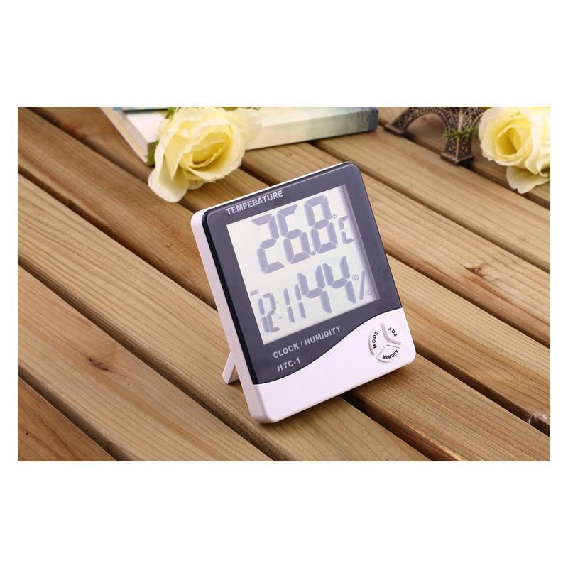 Электронный комнатный термометр-гигрометр HTC-1: температура, влажность, дата, время, будильник 164801