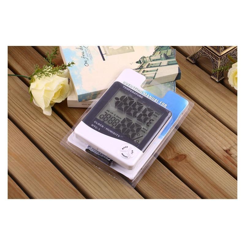 Электронный комнатный термометр-гигрометр HTC-1: температура, влажность, дата, время, будильник 164805