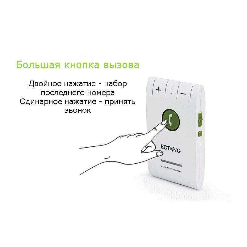 Автомобильный FM-трансмиттер Egtong 6E: Bluetooth-гарнитура, динамик 2Вт+чувствительный микрофон, сопряжение 2 смартфонов сразу 165300