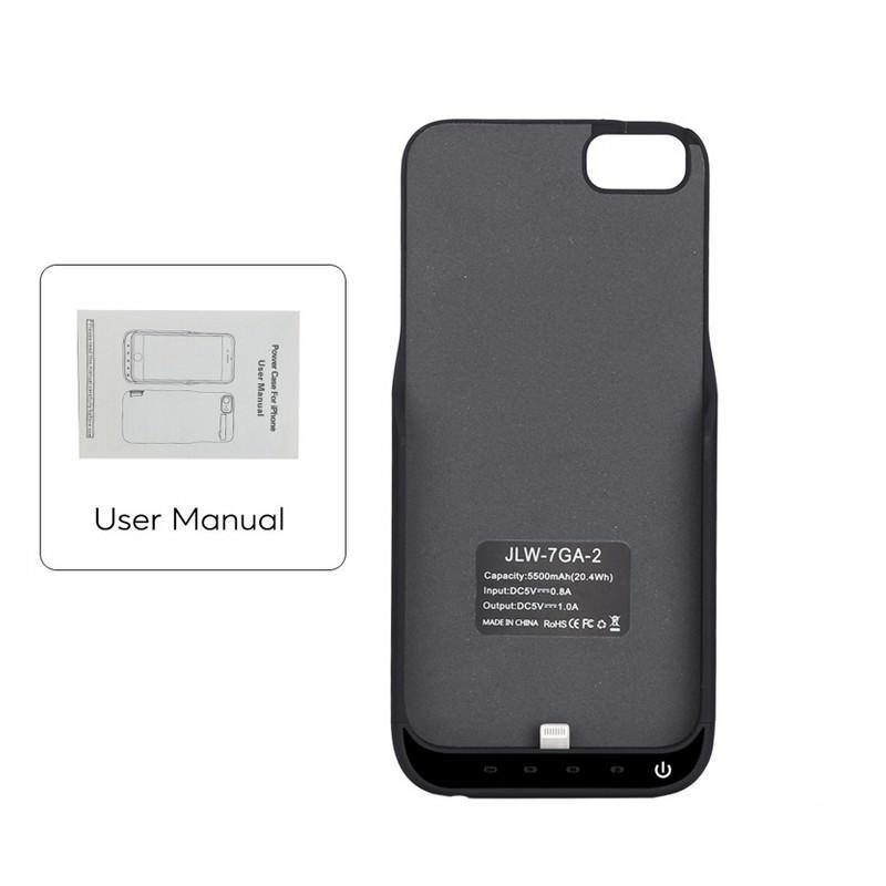 Батарея-чехол для iPhone 6, 6S, 7 – 5500 мАч, индикатор зарядки, дополнительный USB порт 165332