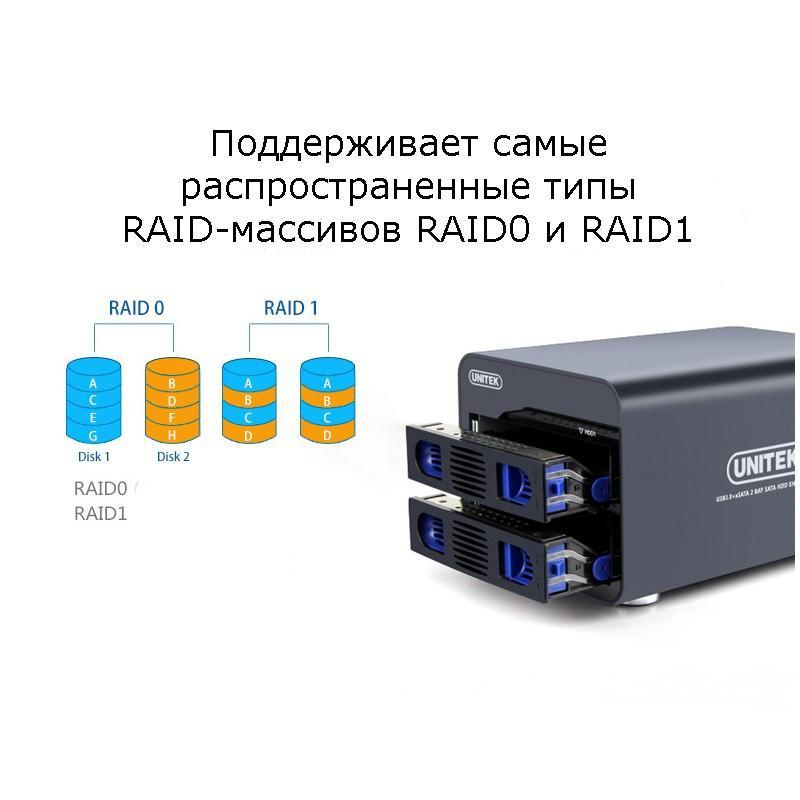 Внешний корпус для создания RAID-массивов из 2 жестких дисков 2,5/3,5 дюйма: SATA-3, порты eSATA, USB 3.0 165345