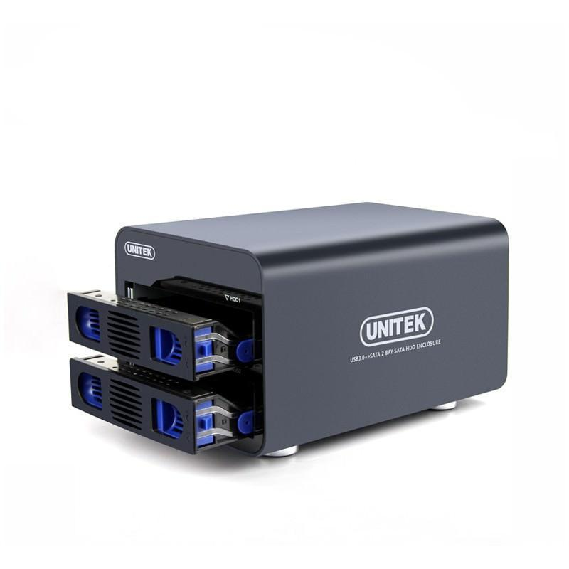 Внешний корпус для создания RAID-массивов из 2 жестких дисков 2,5/3,5 дюйма: SATA-3, порты eSATA, USB 3.0