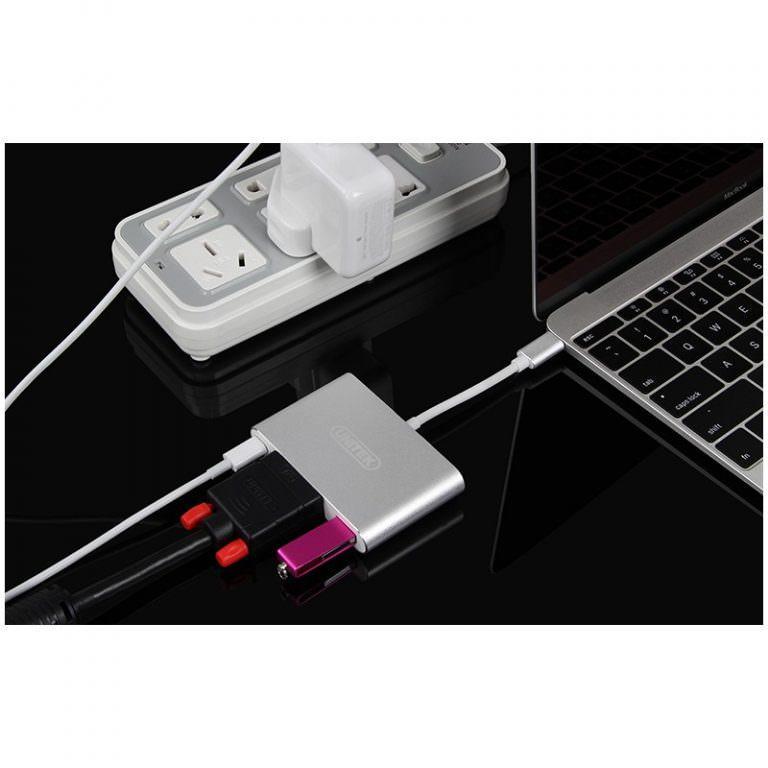 23019 - USB-концентратор + VGA-переходник + адаптер питания для устройств с портом USB Type-C: 2 х USB 2.0, USB3.0