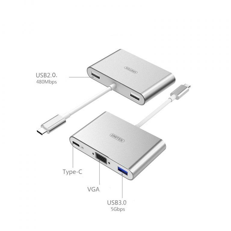 23026 - USB-концентратор + VGA-переходник + адаптер питания для устройств с портом USB Type-C: 2 х USB 2.0, USB3.0