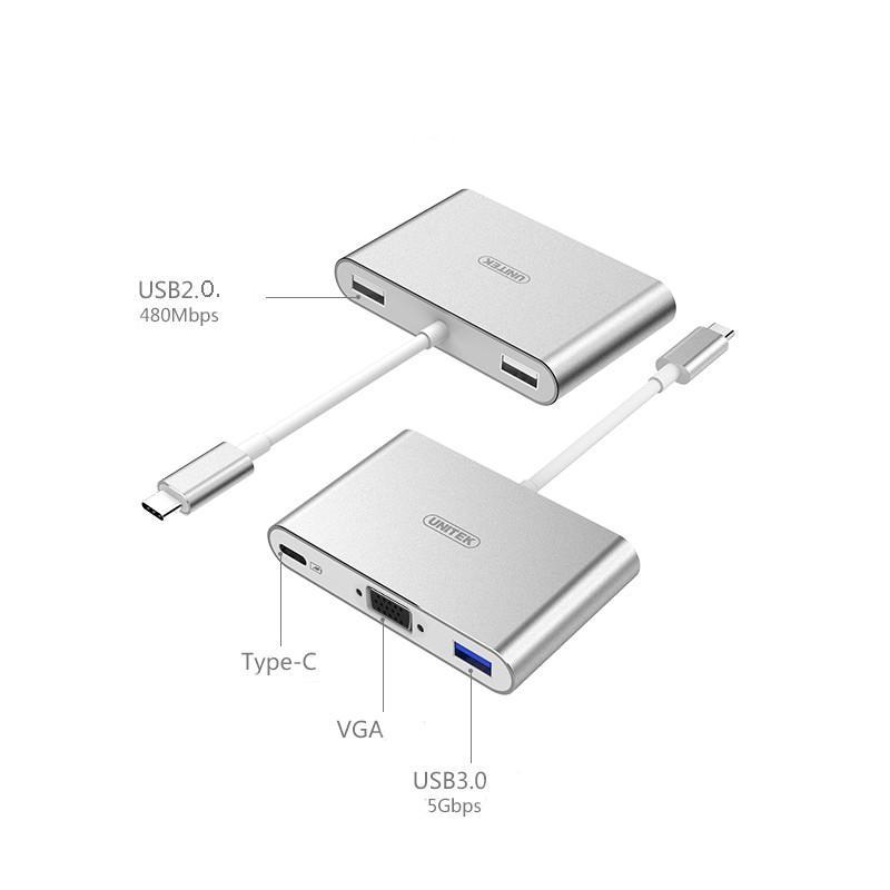 USB-концентратор + VGA-переходник + адаптер питания для устройств с портом USB Type-C: 2 х USB 2.0, USB3.0 165432