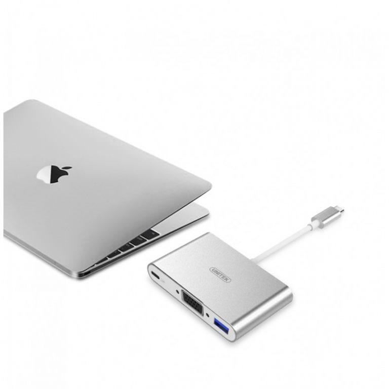23027 - USB-концентратор + VGA-переходник + адаптер питания для устройств с портом USB Type-C: 2 х USB 2.0, USB3.0