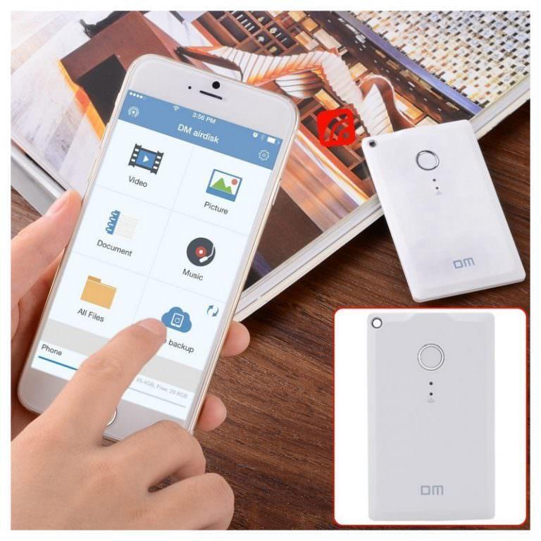 23405 - Wi-Fi жесткий диск (внешний беспроводной накопитель) DM WFD009 для смартфона и планшета - поддержка iOS, Android и Windows, 32 Гб / 64 Гб