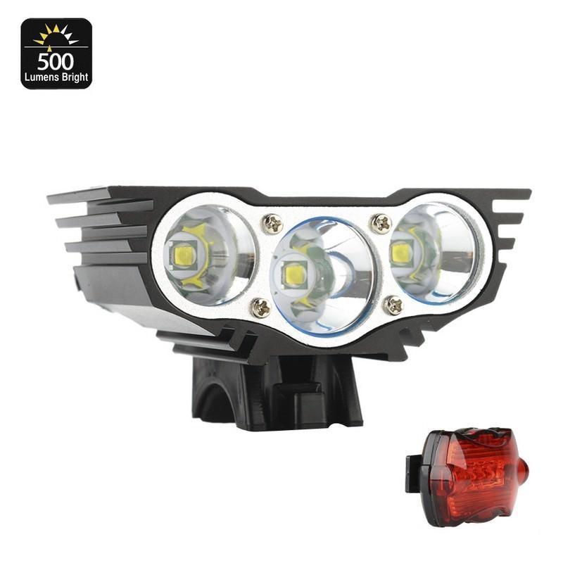 Велосипедный фонарь и задняя фара RoadRunner II – 3 х CREE XM-L U2, до 5000 люмен, крепления в комплекте