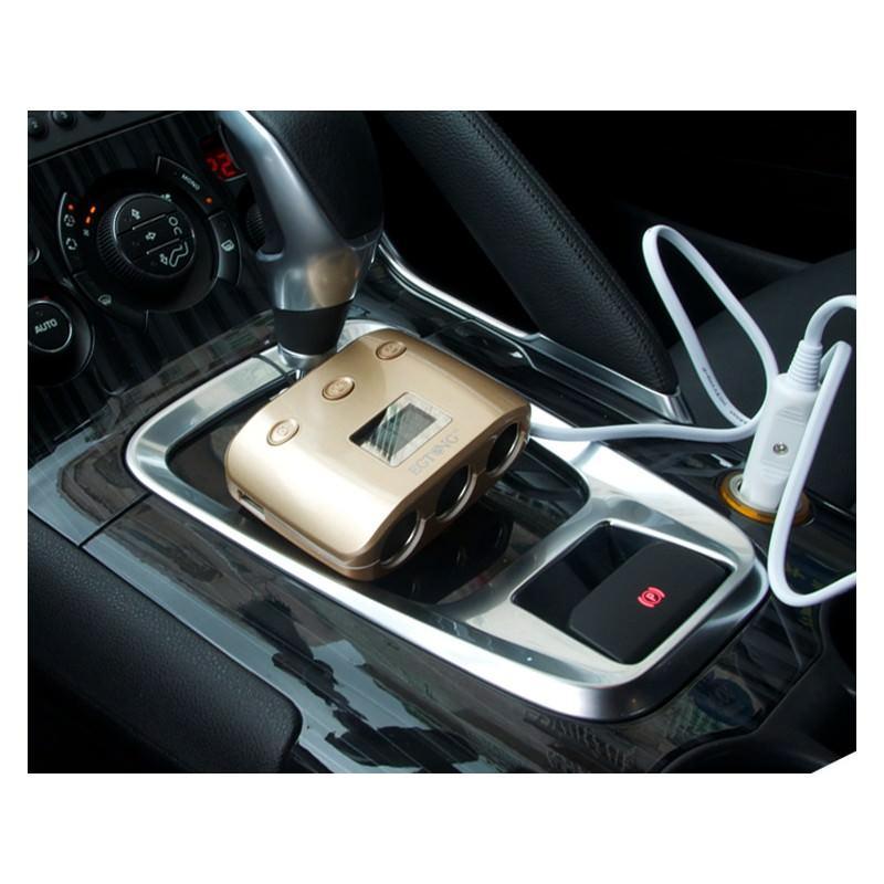 Автомобильное USB-зарядное на 2 USB-выхода + разветвитель для автомобильного прикуривателя Egtong с автономным выключателем 166361