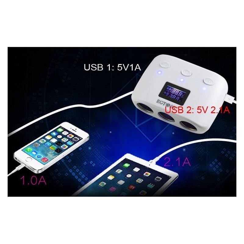 Автомобильное USB-зарядное на 2 USB-выхода + разветвитель для автомобильного прикуривателя Egtong с автономным выключателем 166366