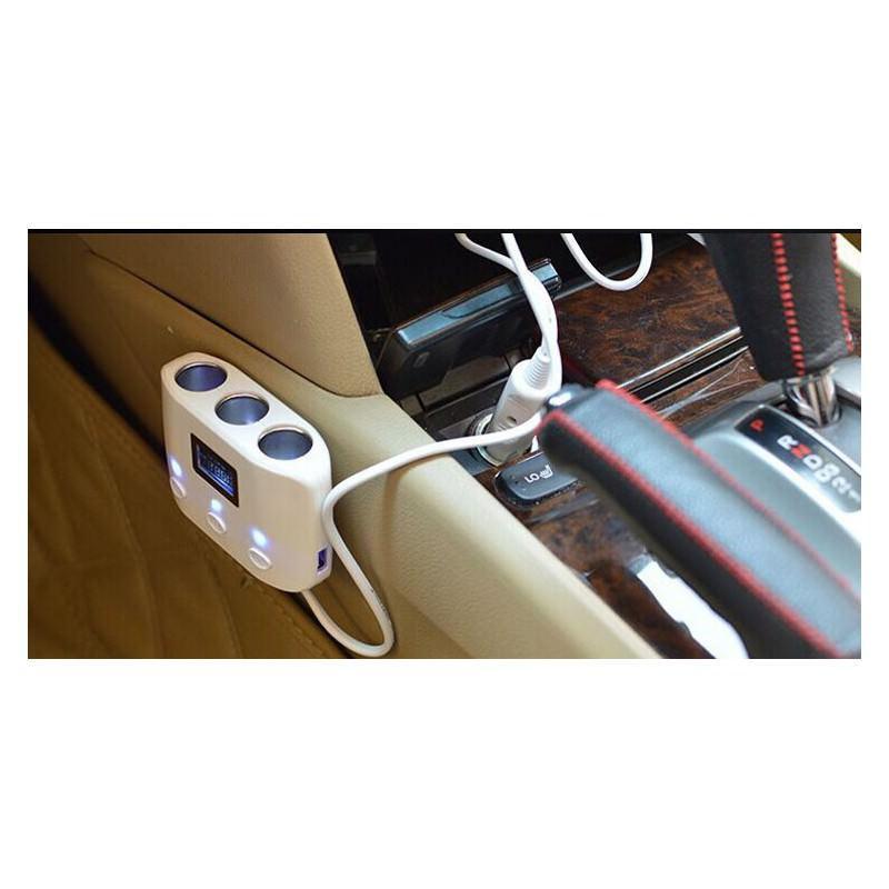 Автомобильное USB-зарядное на 2 USB-выхода + разветвитель для автомобильного прикуривателя Egtong с автономным выключателем 166367
