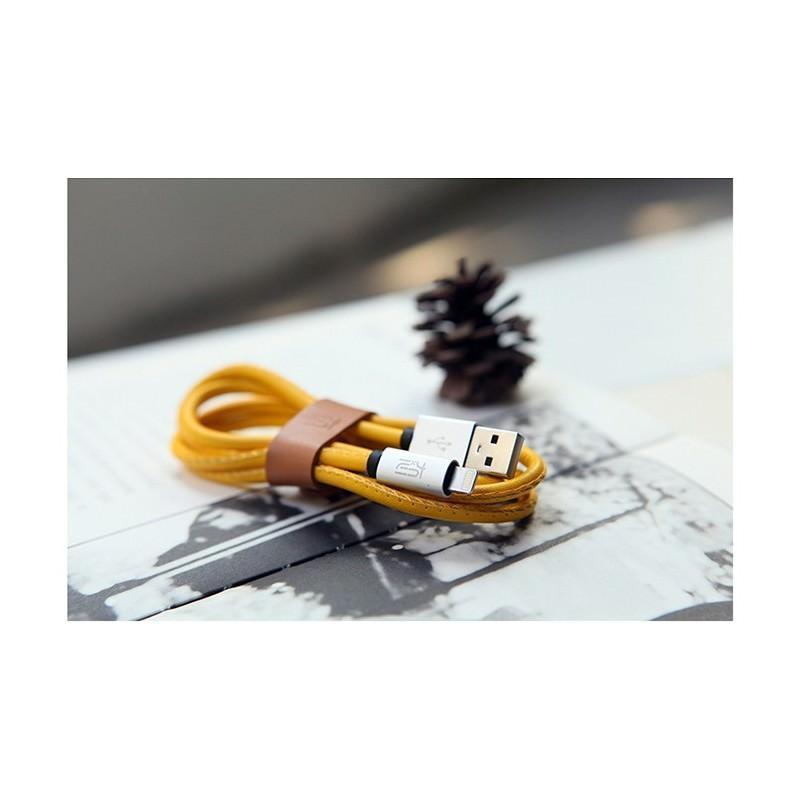 Кожаный высокоскоростной USB-кабель: Micro USB, выходной ток 2,4 А - Желтый