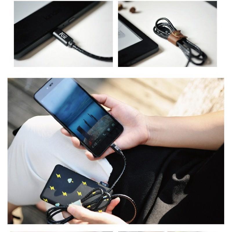 Симпатичный кожаный USB-кабель: Micro USB, выходной ток 2,4 А 166934