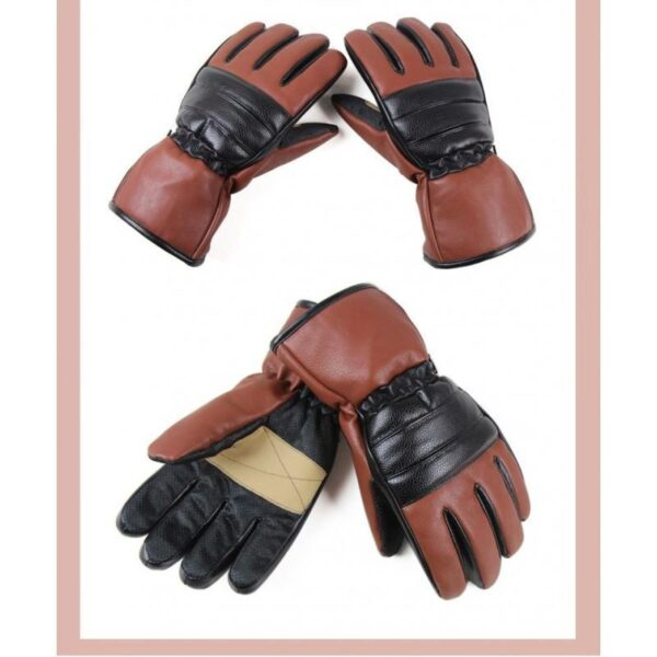 25071 - Кожаные перчатки с подогревом для мотоцикла, охоты, рыбалки, спорта: 2 аккумулятора 7,4В по 2000 мАч, 3 часа подогрева