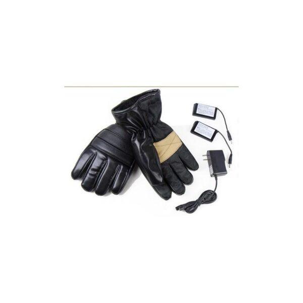 25073 - Кожаные перчатки с подогревом для мотоцикла, охоты, рыбалки, спорта: 2 аккумулятора 7,4В по 2000 мАч, 3 часа подогрева