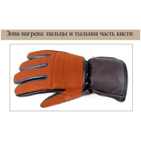 25078 - Кожаные перчатки с подогревом для мотоцикла, охоты, рыбалки, спорта: 2 аккумулятора 7,4В по 2000 мАч, 3 часа подогрева