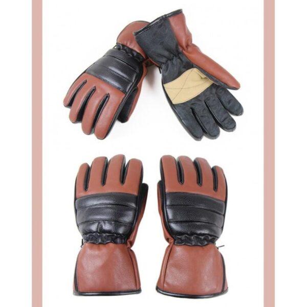 25081 - Кожаные перчатки с подогревом для мотоцикла, охоты, рыбалки, спорта: 2 аккумулятора 7,4В по 2000 мАч, 3 часа подогрева