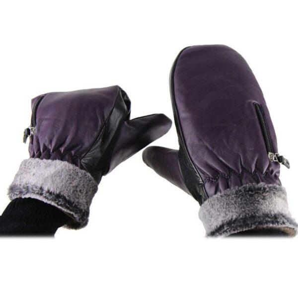 25117 - Кожаные рукавицы с подогревом WinterSun: 3 часа эффект, перезаряжаемые аккумуляторы