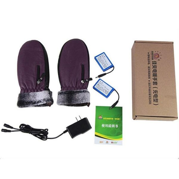 25120 - Кожаные рукавицы с подогревом WinterSun: 3 часа эффект, перезаряжаемые аккумуляторы