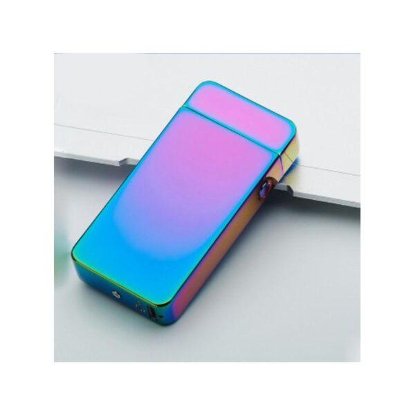 25276 - Электроимпульсная двудуговая USB-зажигалка Volcanic Star: цинковый сплав, ветрозащита, кнопочный пуск