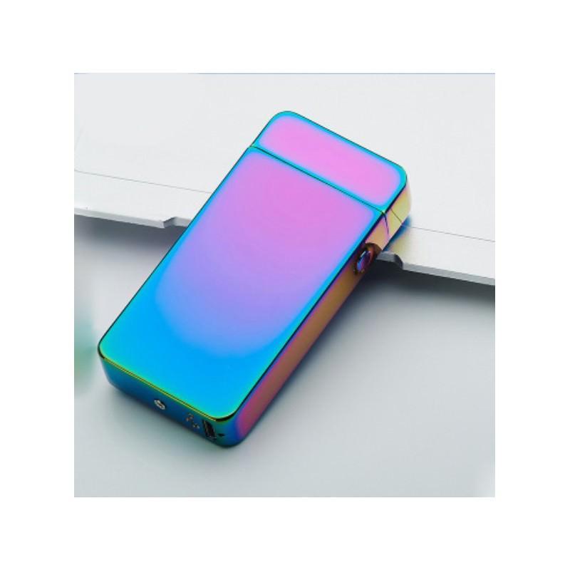 Электроимпульсная двудуговая USB-зажигалка Volcanic Star: цинковый сплав, ветрозащита, кнопочный пуск 202510
