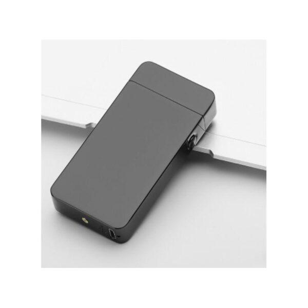 25280 - Электроимпульсная двудуговая USB-зажигалка Volcanic Star: цинковый сплав, ветрозащита, кнопочный пуск