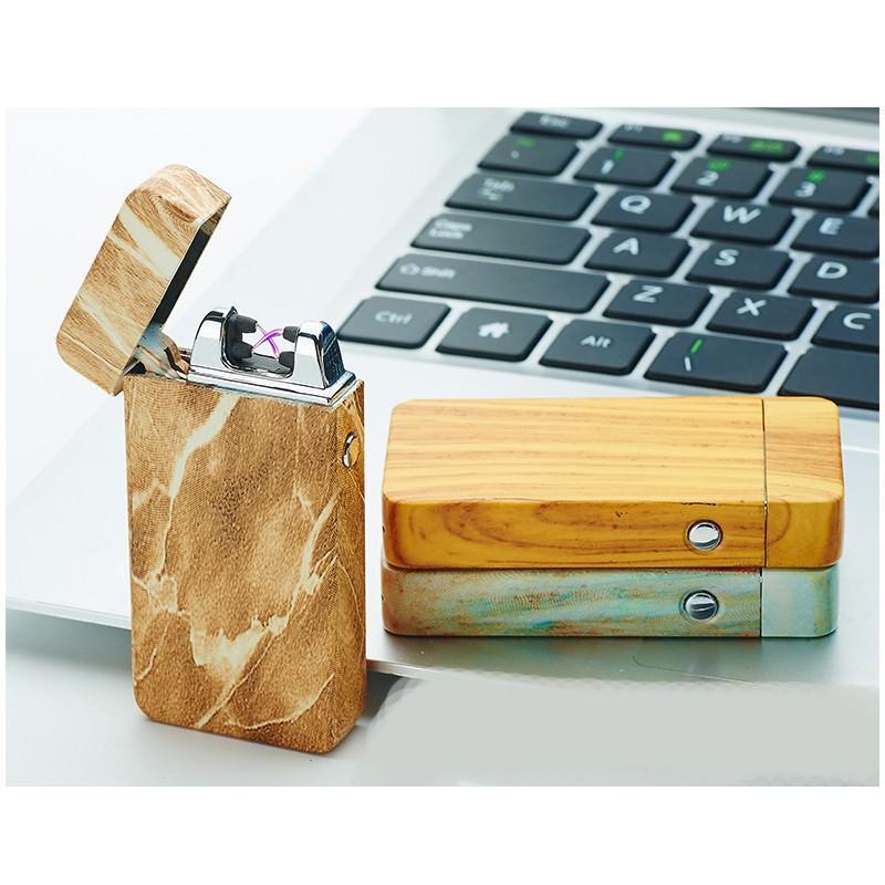 Электроимпульсная двудуговая USB-зажигалка Volcanic Star: цинковый сплав, ветрозащита, кнопочный пуск 202516