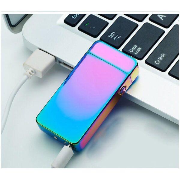 25291 - Электроимпульсная двудуговая USB-зажигалка Volcanic Star: цинковый сплав, ветрозащита, кнопочный пуск
