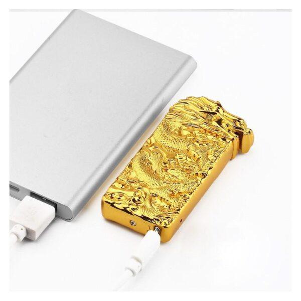 25412 - Плазменная электроимпульсная USB-зажигалка Dragon Fire: цинковый сплав с PVD-напылением
