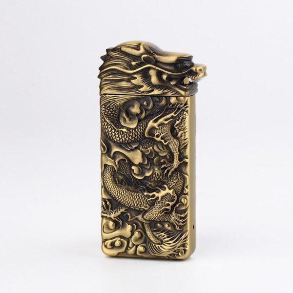 25413 - Плазменная электроимпульсная USB-зажигалка Dragon Fire: цинковый сплав с PVD-напылением