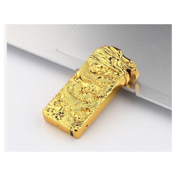 25415 - Плазменная электроимпульсная USB-зажигалка Dragon Fire: цинковый сплав с PVD-напылением