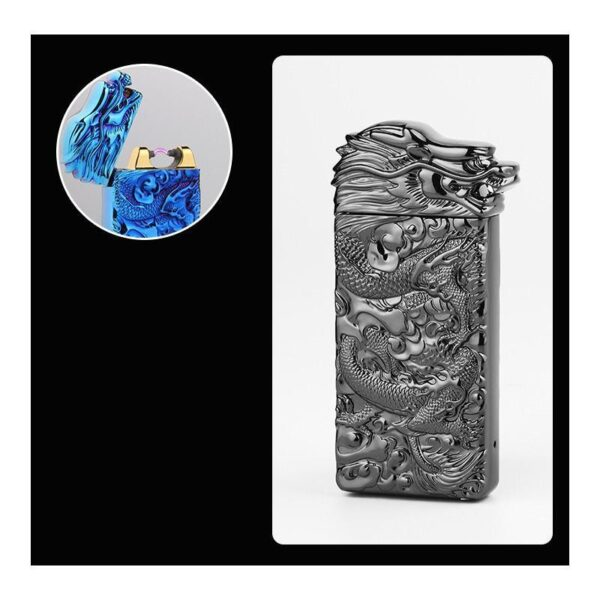 25416 - Плазменная электроимпульсная USB-зажигалка Dragon Fire: цинковый сплав с PVD-напылением