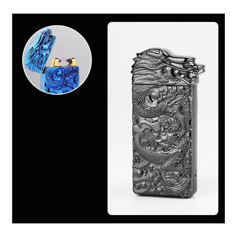 Плазменная электроимпульсная USB-зажигалка Dragon Fire: цинковый сплав с PVD-напылением - Серебряный лед