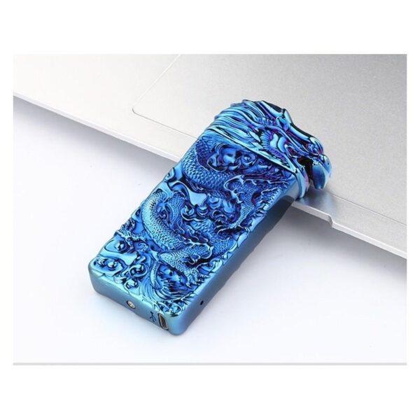 25417 - Плазменная электроимпульсная USB-зажигалка Dragon Fire: цинковый сплав с PVD-напылением