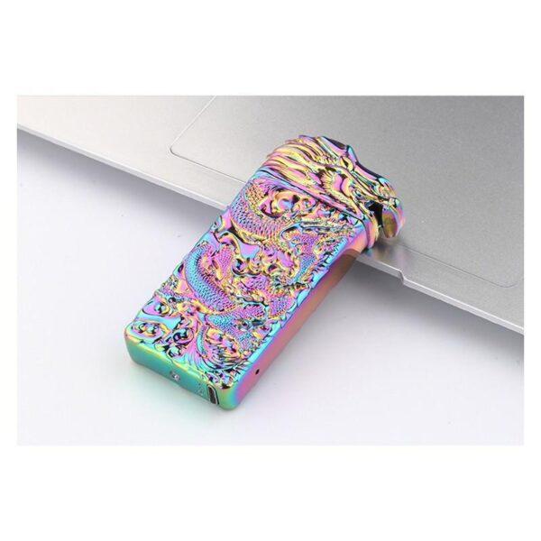 25419 - Плазменная электроимпульсная USB-зажигалка Dragon Fire: цинковый сплав с PVD-напылением
